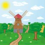 Windmills against rural landscape Stock Photos