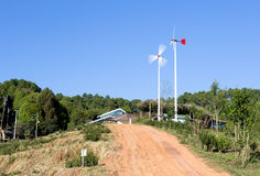 Windmills along the contry road Stock Image