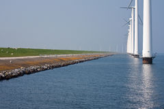 Windmills along the. In the Netherlands royalty free stock photos