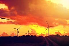 windmills alternativ energi Fotografering för Bildbyråer