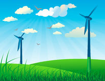 Windmills alternative energy background vector Stock Images