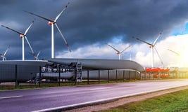 Windmills, alternative energy . Power generating windmills. Wind turbines . Closeup Wind turbine power generator on blue sky stock images