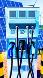 Windmills, alternative energy . Solar Panels . Charging station for electric cars . Power service station . Street charging of electric cars stock photo