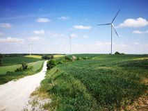 Windmills. Artistic look in vintage vivid colours. Stock Images