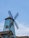 Windmills and blue sky. Background Stock Photos