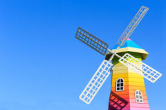 Windmills and blue sky background Royalty Free Stock Photos