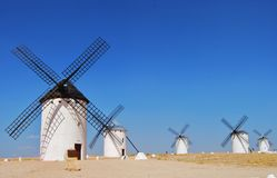 Windmills with blue sky in Campo de Criptana ,Castilla La Mancha stock photo