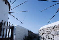 Windmills with blue sky in Mykonos Island, Cyclades Royalty Free Stock Image