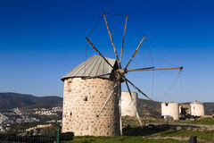 Windmills in Bodrum stock photo