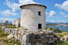 Windmills in Bodrum, Turkey Royalty Free Stock Photography
