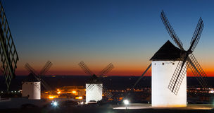 Windmills in Campo de Criptana in sunset time Royalty Free Stock Photo