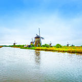 Windmills and canal in Kinderdijk, Holland or Netherlands. Unesc Stock Photography