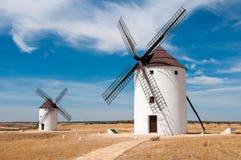 Windmills. At Castilla la Mancha, in a fantastic sunny day Royalty Free Stock Image