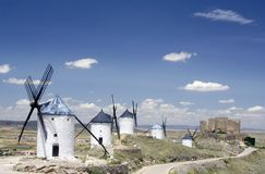 Windmills and Castle, Consuegr Stock Image