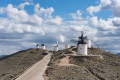 Windmills with castle, Consuegra, Castile-La Mancha, Spain royalty free stock images