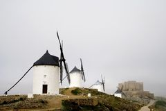 Windmills and Castle, Consuegra Spain Royalty Free Stock Photography