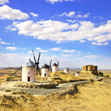 Windmills and castle of Consuegra. Spain Royalty Free Stock Photo