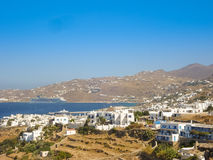 Windmills in Chora village in Mykonos, a popular island landmark Royalty Free Stock Images