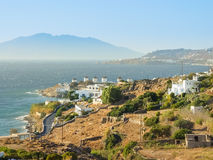 Windmills in Chora village in Mykonos, a popular island landmark Royalty Free Stock Image