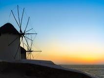 Windmills in Chora village in Mykonos, a popular island landmark Royalty Free Stock Photo
