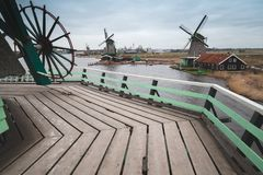 Windmills on coast of Zaan river, Netherlands Stock Image