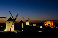 Windmills in Consuegra. Windmills with castle at night, Consuegra, Castile-La Mancha, Spain Stock Image