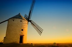 Consuegra is a litle town in the Spanish region of Castilla-La Mancha, famous due to its historical windmills, Rucio is the windmi Stock Photo