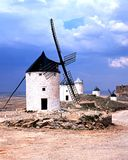 Windmills, Consuegra, Spain. Windmills with the castleruins to the rear, Consuegra, Toledo Province, Castille La Mancha, Spain, Western Europe Stock Image