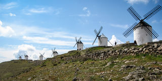 Windmills at Consuegra, Spain. Image of Windmills on a hill at Consuegra, Spain Royalty Free Stock Images
