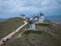 Windmills at Consuegra, Spain. Image of Windmills on a hill at Consuegra, Spain Royalty Free Stock Photos