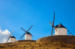 Windmills in Consuegra, Spain. Windmills of Consuegra in the La Mancha region of central Spain Stock Photos