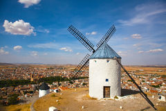 Windmills in Consuegra, Spain. Windmills of Consuegra in the La Mancha region of central Spain Royalty Free Stock Images