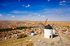 Windmills in Consuegra, Spain. Windmills of Consuegra in the La Mancha region of central Spain Royalty Free Stock Photo