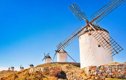 Windmills in Consuegra at sunset, Andalusia, Spain. Famous windmills in Consuegra at sunset, province of Toledo, Castile-La Mancha, Andalusia, Spain Royalty Free Stock Photos