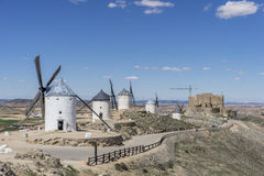 windmills of Consuegra in Toledo City, were used to grind grain Royalty Free Stock Photos