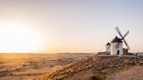 Windmills in Consuegra, Toledo Province, Castilla La Mancha, Spa. Windmills molinos in Consuegra, Toledo Province, Castilla La Mancha, Spain, at sunset Royalty Free Stock Photography