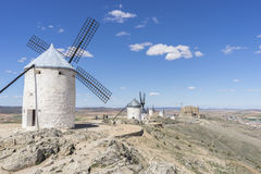 windmills of Consuegra in Toledo, Spain. They served to grind gr Stock Photo