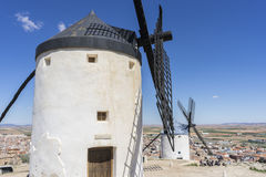 Windmills of Consuegra in Toledo, Spain. They served to grind gr. Ain crop fields Stock Photos