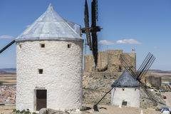 Windmills of Consuegra in Toledo, Spain. They served to grind gr. Ain crop fields Royalty Free Stock Photography
