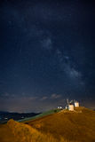 Windmills of Consuegra under Milky Way - La Mancha, Spain. Windmills of Consuegra under Milky Way in La Mancha, Spain stock photography