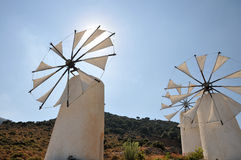 Windmills in Crete Stock Photos