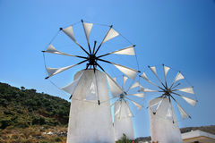 Windmills in crete. Greece Island blue sky stock images