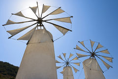 Windmills. Crete Stock Photo
