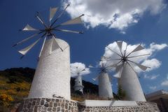 Windmills in Crete Stock Photo