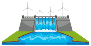Windmills and dam with streams Stock Image