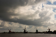 Windmills dams barriers on the North Sea peterson netherlands Royalty Free Stock Photography