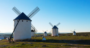 Windmills in day time. La Mancha Royalty Free Stock Image