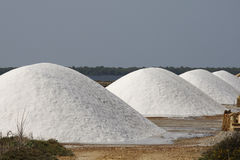 Stacks of Sea Salt in Sicily Royalty Free Stock Photos