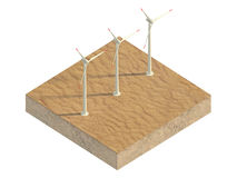 Windmills of the desert on a plot of land Royalty Free Stock Images
