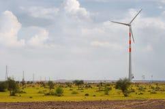 Windmills at desert in Rajasthan, India stock photos